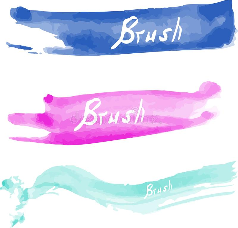 Set of three watercolor vector brushes. Brush for your design. royalty free stock images