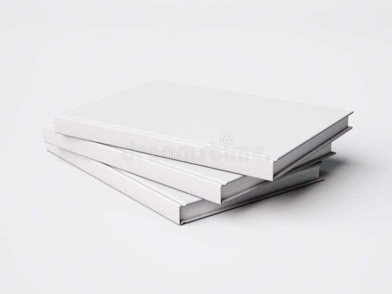 Set of three white books. 3d rendering royalty free illustration