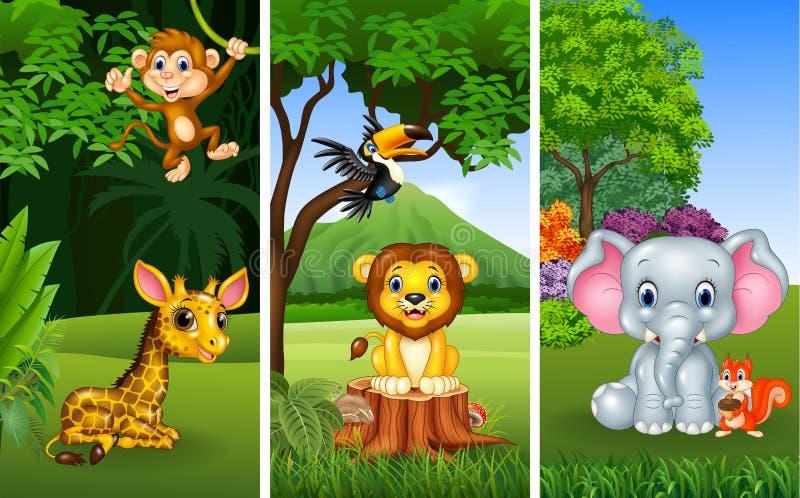 Set of three wild animals with nature background stock illustration