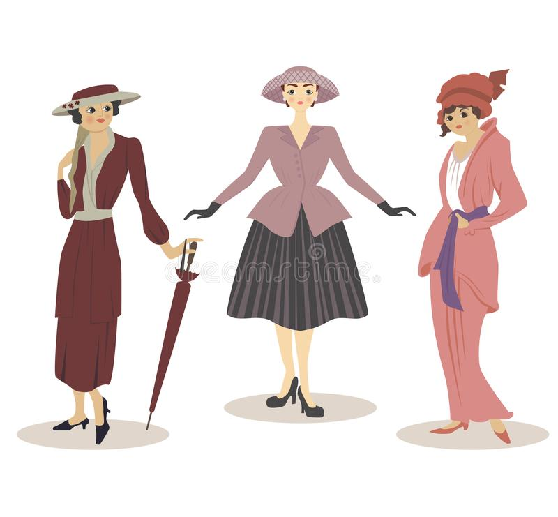 Set of three women in vintage clothes of 20th century. Set of ladies in vintage dresses and hats with umbrella on white background stock illustration