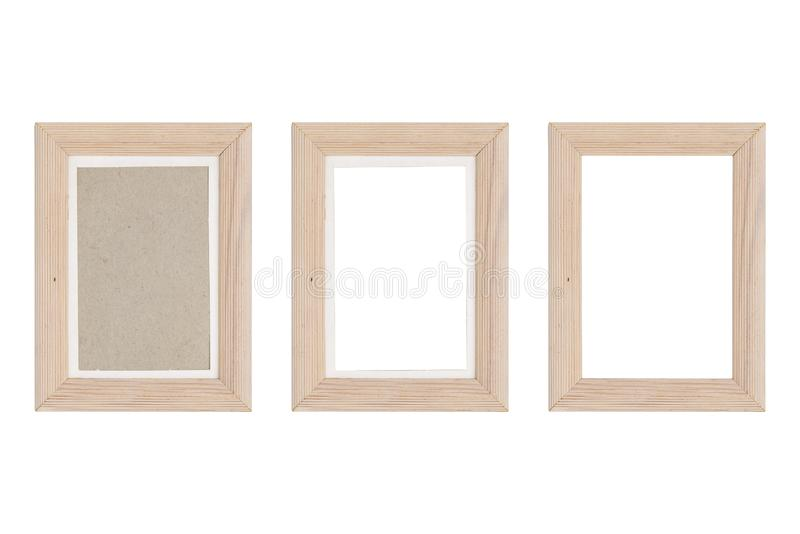 Set of three wood picture frames with passepartout stock photo