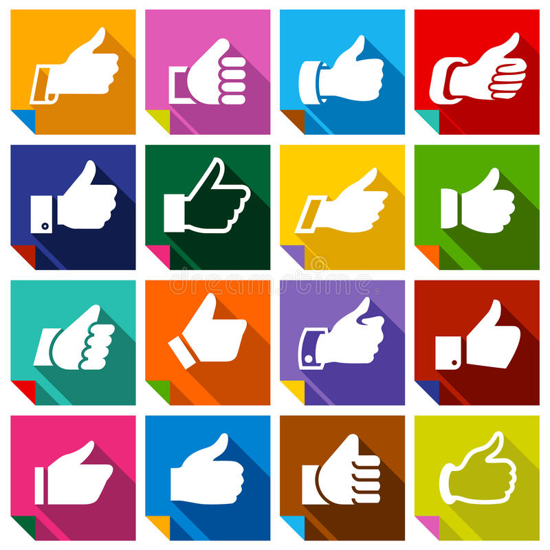 Set of 16 Thumbs up vector illustration