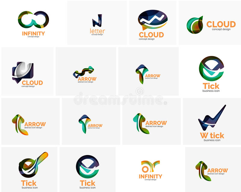 Set of tick ok, cloud or arrow concept icons. Created with swirls and flowing wavy elements. Business, app, web design logo template stock illustration