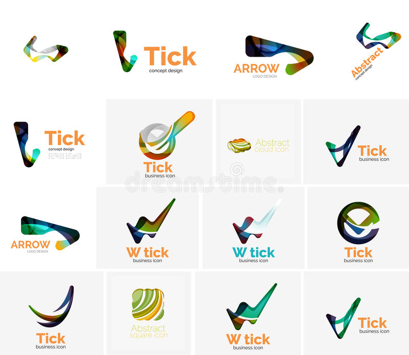 Set of tick ok, cloud or arrow concept icons. Created with swirls and flowing wavy elements. Business, app, web design logo template vector illustration