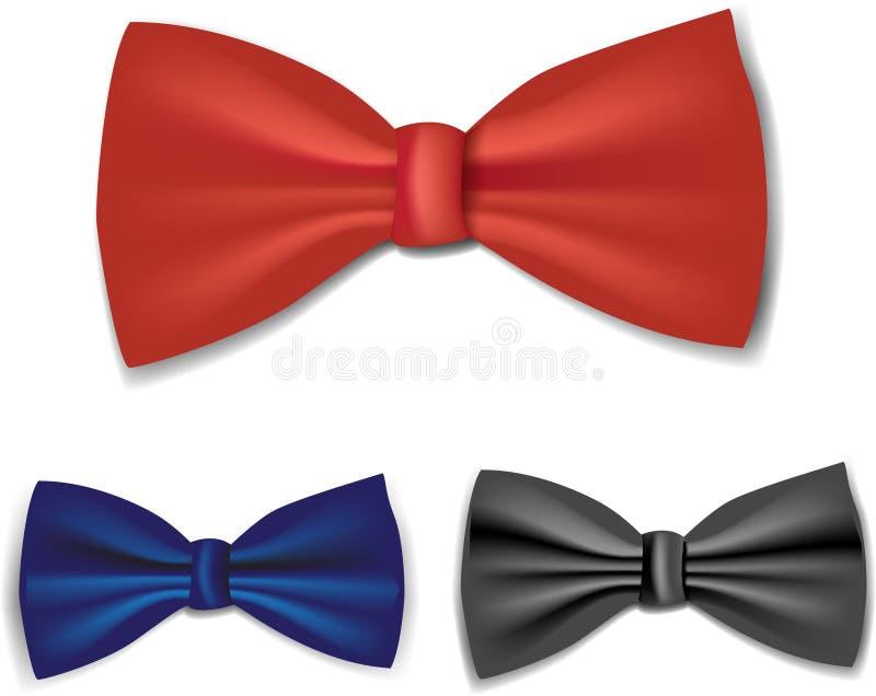 set tie för bow vektor illustrationer