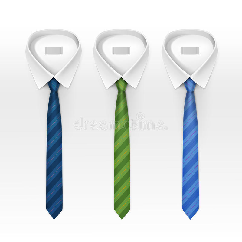 Set of Tied Striped Colored Silk and Bow Ties Vector vector illustration