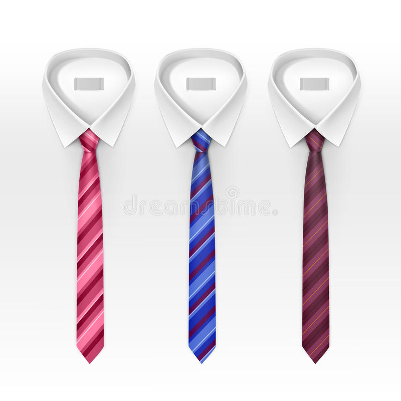 Set of Tied Striped Colored Silk and Bow Ties Vector royalty free illustration