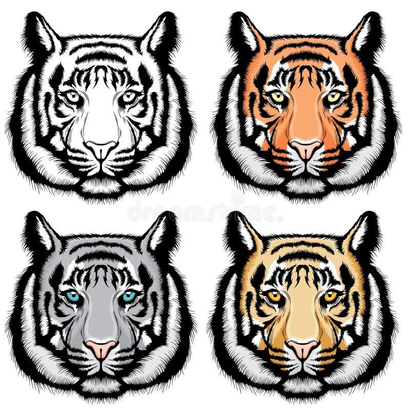 Set of tiger heads. vector illustration