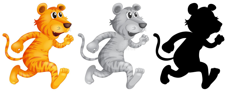Set of tiger running. Illustration vector illustration