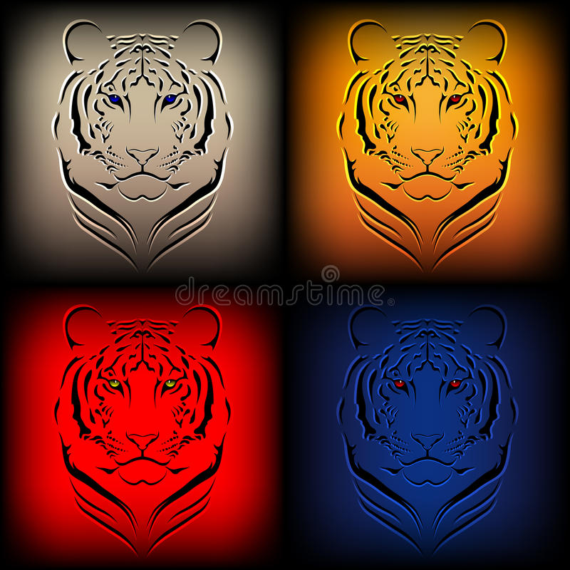 Download Set Of  Tigers In Various Colors Stock Vector - Image: 20459198