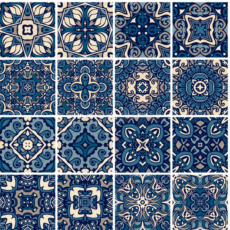 Set of tiles, blue and white azulejo, original traditional Portuguese and Spain decor. stock illustration