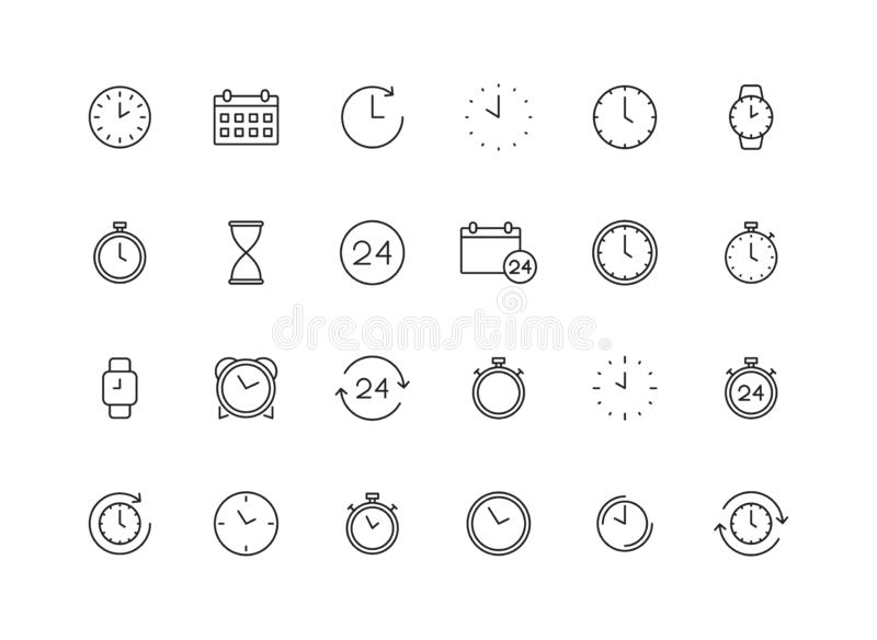 Set of 24 Time and clock web icons in line style. Timer, Speed, Alarm, Calendar. Vector illustration.  stock illustration