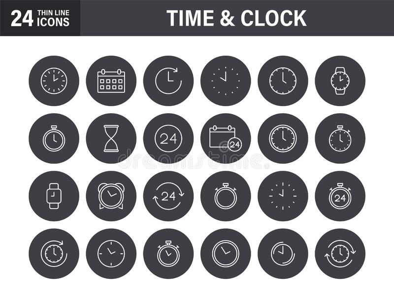 Set of Time and clock web icons in line style. Timer, Speed, Alarm, Calendar. Vector illustration stock photo