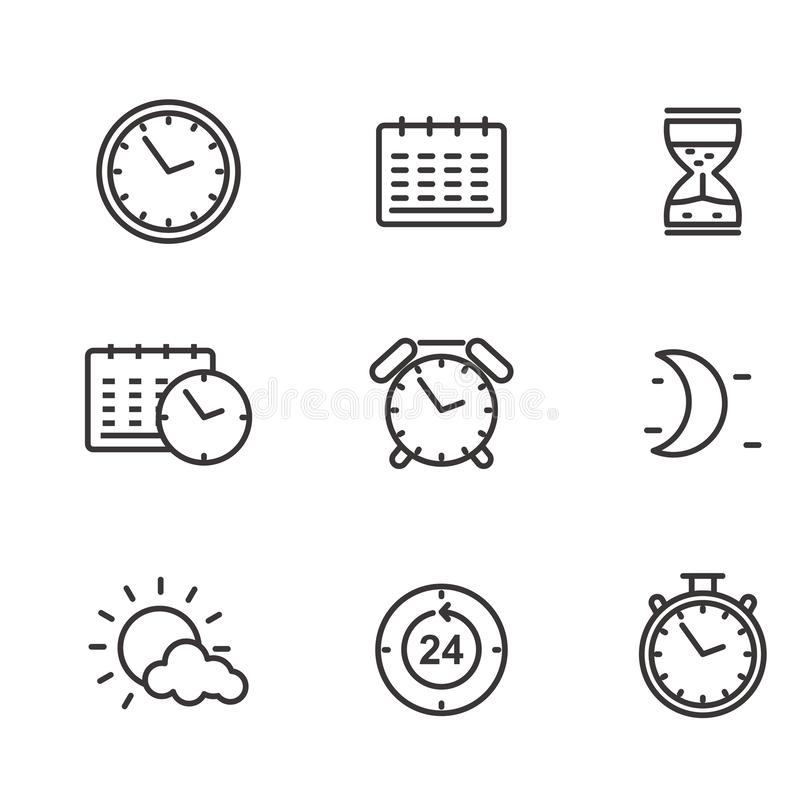 Set of time and date related vector illustration with simple line design. Suitable for icon or doodle. Clock vector illustration vector illustration