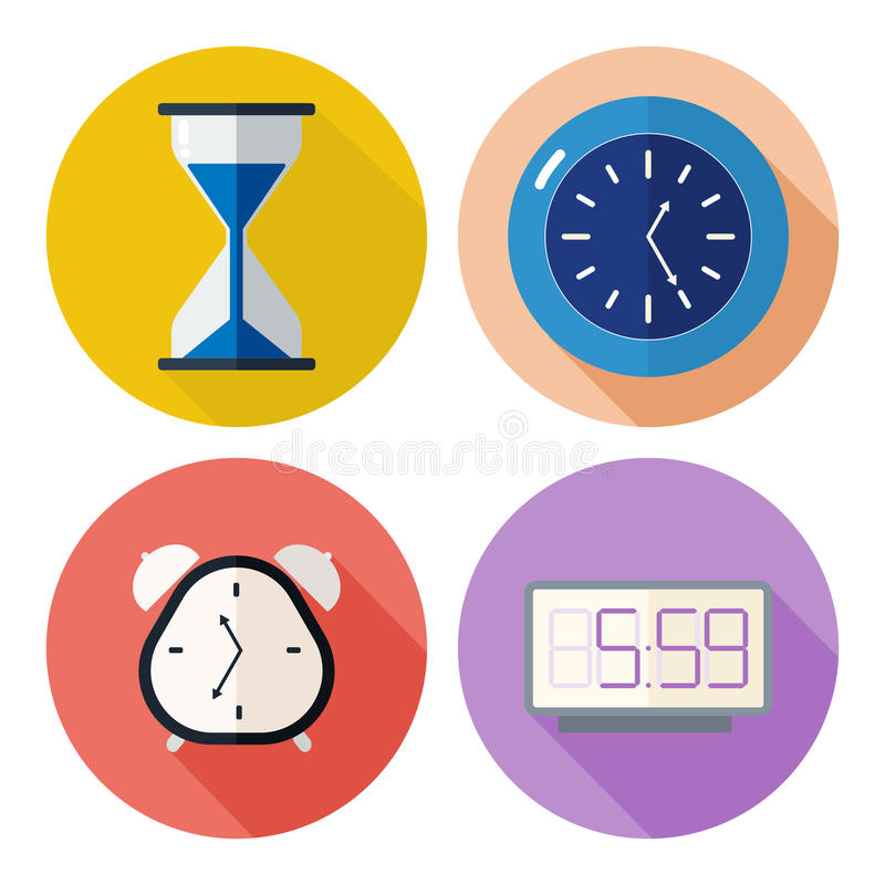 Set of time related icons royalty free illustration