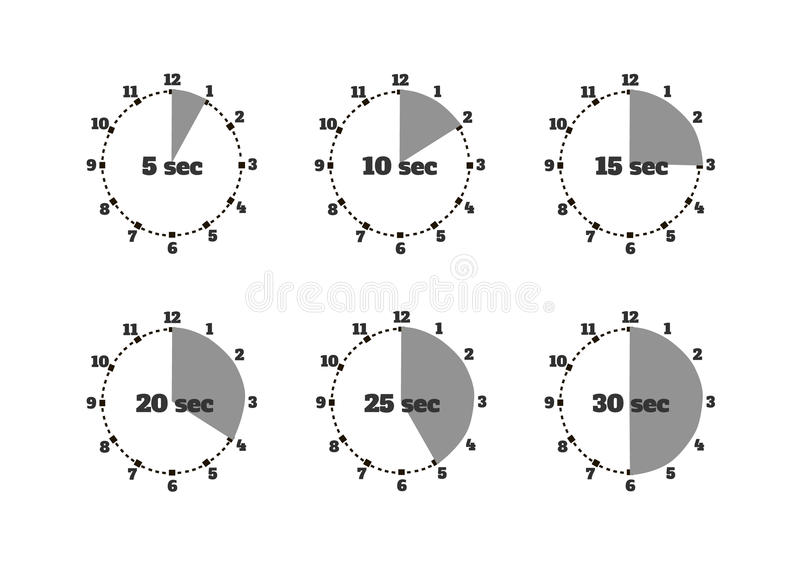 Set of Time Second Stopwatch Design Flat royalty free illustration