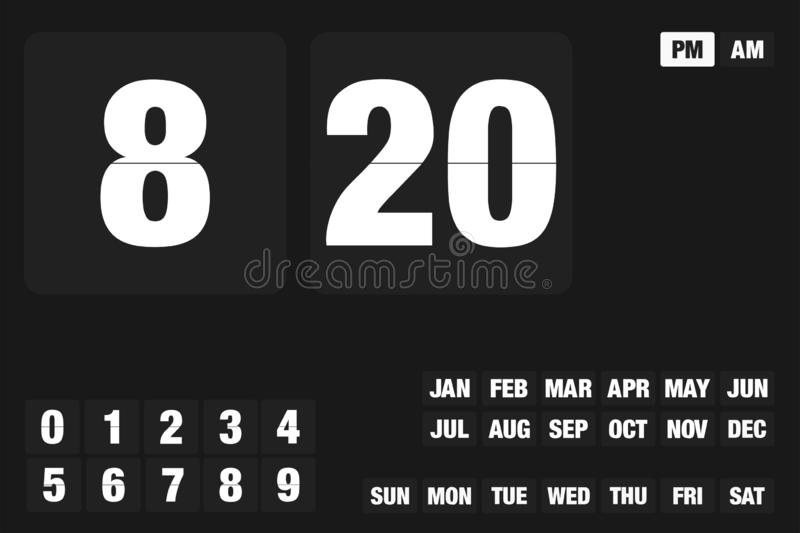 Set for timer or clock counter with white letters and numbers mounts of year day of week device application countdown EPS 10 royalty free illustration