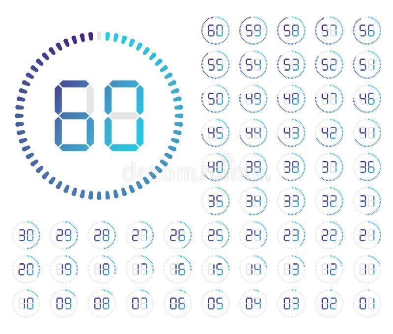 Set Timer Kennzeichnen Sie Ikone stock abbildung