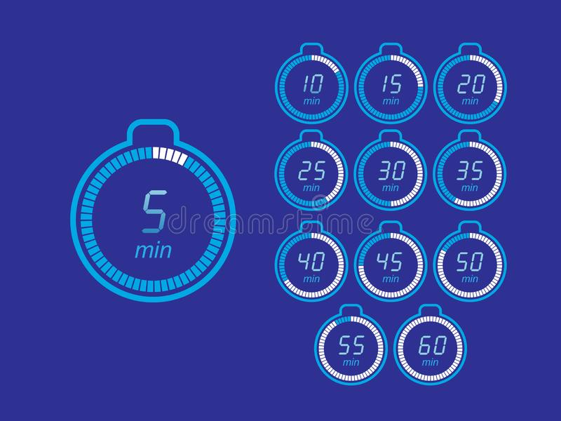 Set of timers. Sign icon. Full rotation arrow timer. Colored flat icons. Flat Design Vector Illustration royalty free illustration