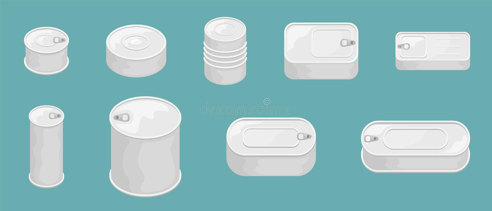 Set of 9 tin cans without a label. 3D vector illustration stock illustration