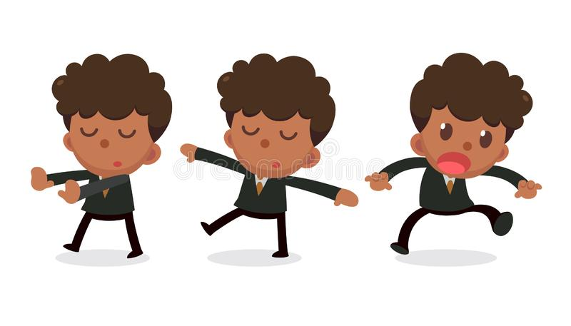 Set of tiny businessman character in actions. Daydream. Office life royalty free illustration