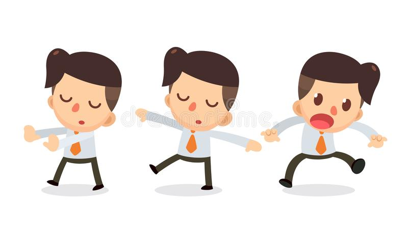 Set of Tiny businessman character in actions. Daydream. Office life vector illustration