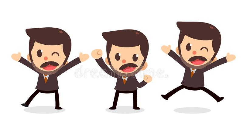 Set of tiny businessman character in actions. Glad and happy. Office life royalty free illustration