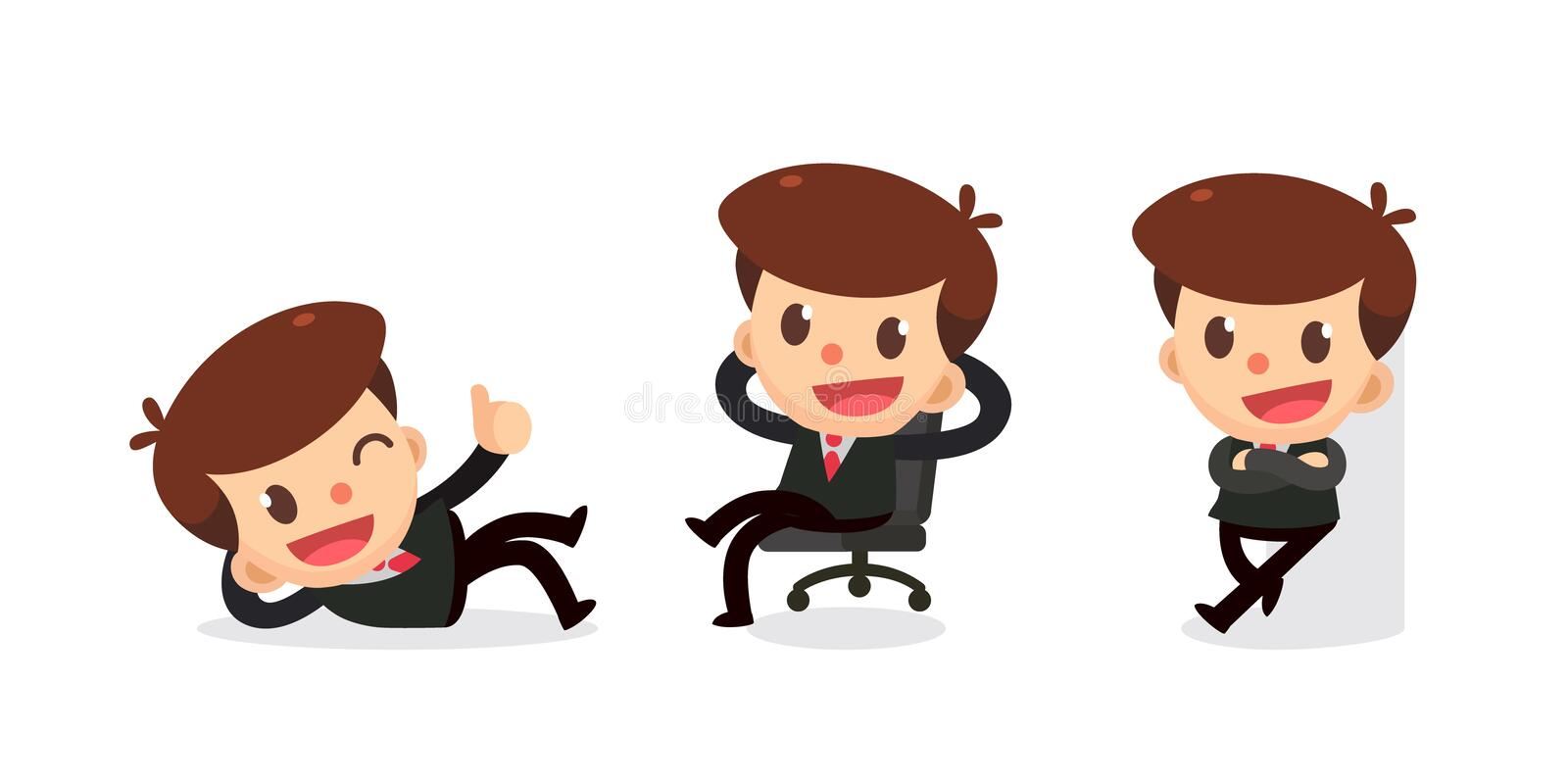 Set of Tiny businessman character in actions. Relaxing. royalty free illustration