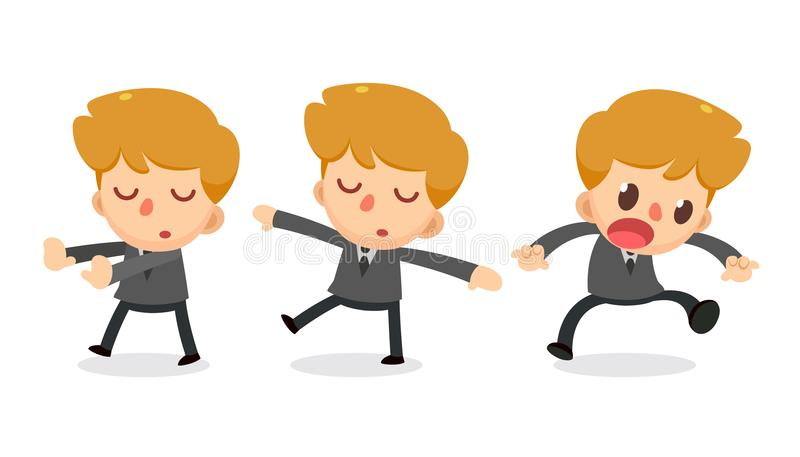Set of tiny businessman character in actions. Daydream royalty free illustration