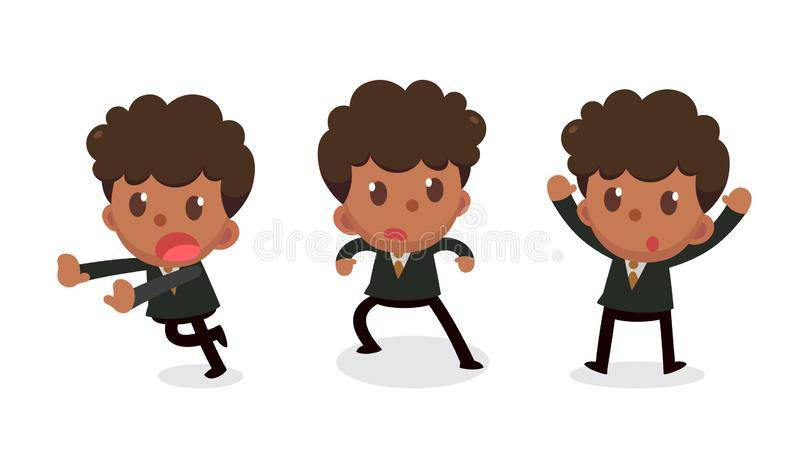 Set of tiny businessman character in actions. Surrender. Office life stock illustration
