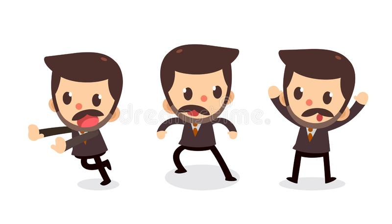 Set of tiny businessman character in actions. Surrender. Office life vector illustration