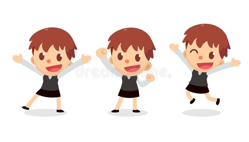 Set of tiny businesswoman character in actions. Glad and happy. Office life royalty free illustration