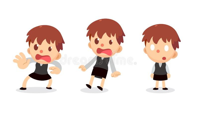 Set of tiny businesswoman character in actions. Scared and shocked. stock illustration