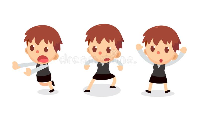 Set of tiny businesswoman character in actions. Surrender. Office life royalty free illustration