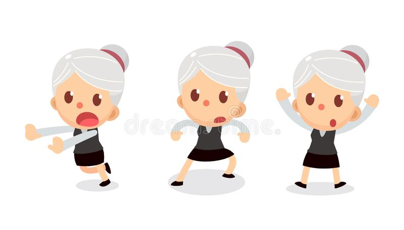 Set of tiny businesswoman character in actions. A woman with gray hair. Surrender. Office life royalty free illustration