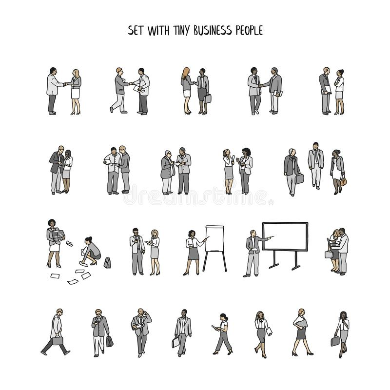 Set of tiny hand drawn business people royalty free illustration