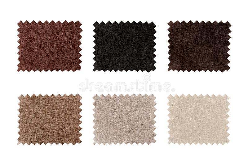 Set tkaniny swatch pobiera próbki, składa, teksturę Koloru planu ziemia tonuje tkaninę z bielem, popielatym, brąz, beż i czerń ba obrazy stock