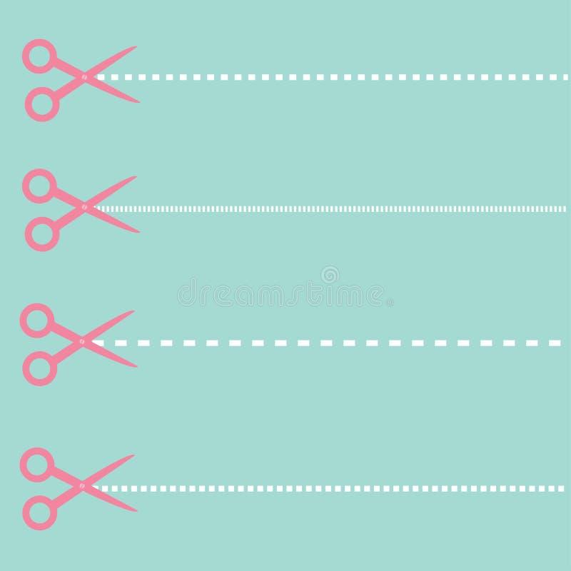 Set tnący nożyce i junakowania cięcie wykłada. ilustracja wektor