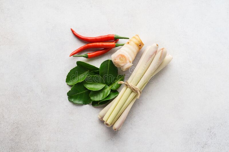 Set of Tom Yum soup main ingredients on light gray background. Set of Tom Yum soup main ingredients - lemon grass, chilli peppers, galanga root or galangal and royalty free stock photo