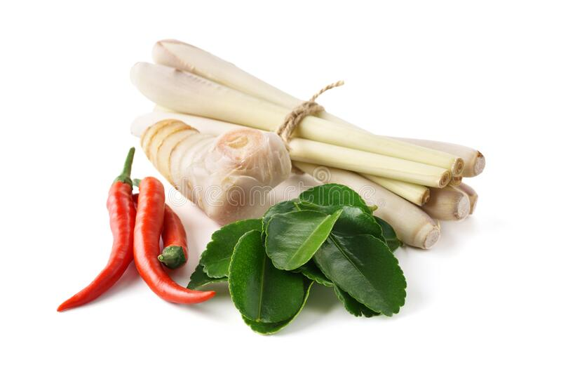 Set of Tom Yum soup main ingredients on white background. Set of Tom Yum soup main ingredients - lemon grass, chilli peppers, galanga root or galangal and kaffir stock image