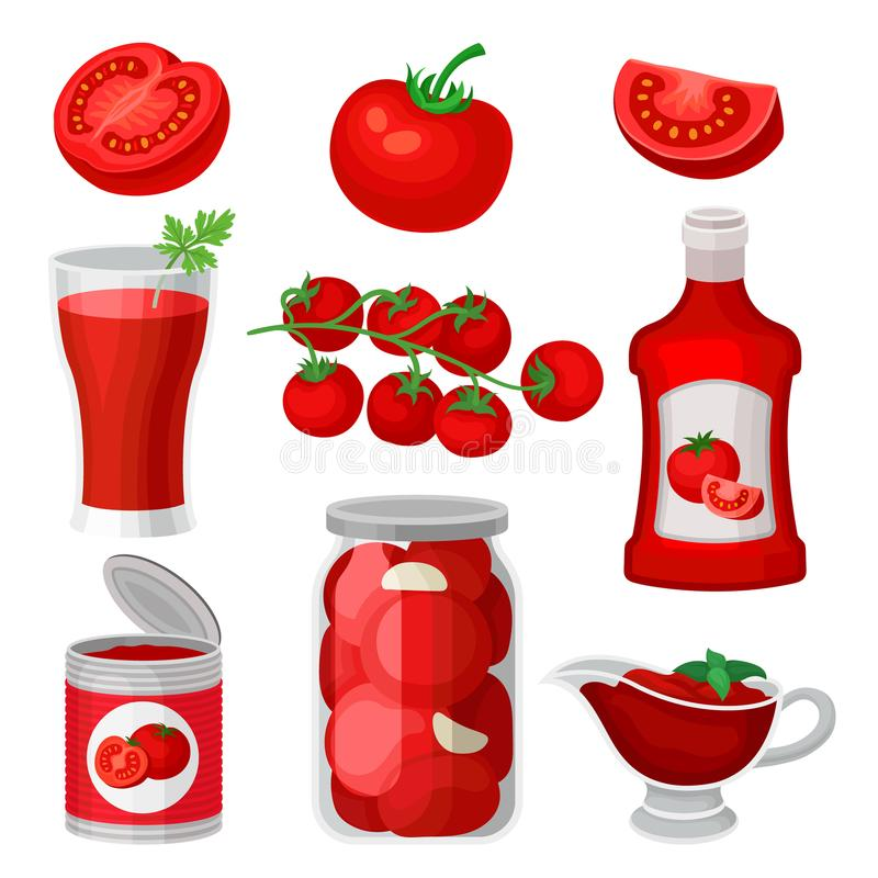 Flat vector set of tomato food and drinks. Healthy juice, ketchup and sauce, canned products. Natural and tasty products. Set of tomato food and drinks. Healthy vector illustration
