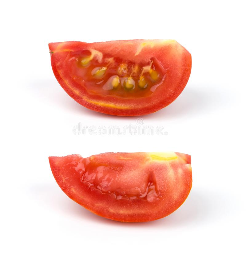 Set of tomato slice isolated on white background with clipping path by hand royalty free stock image