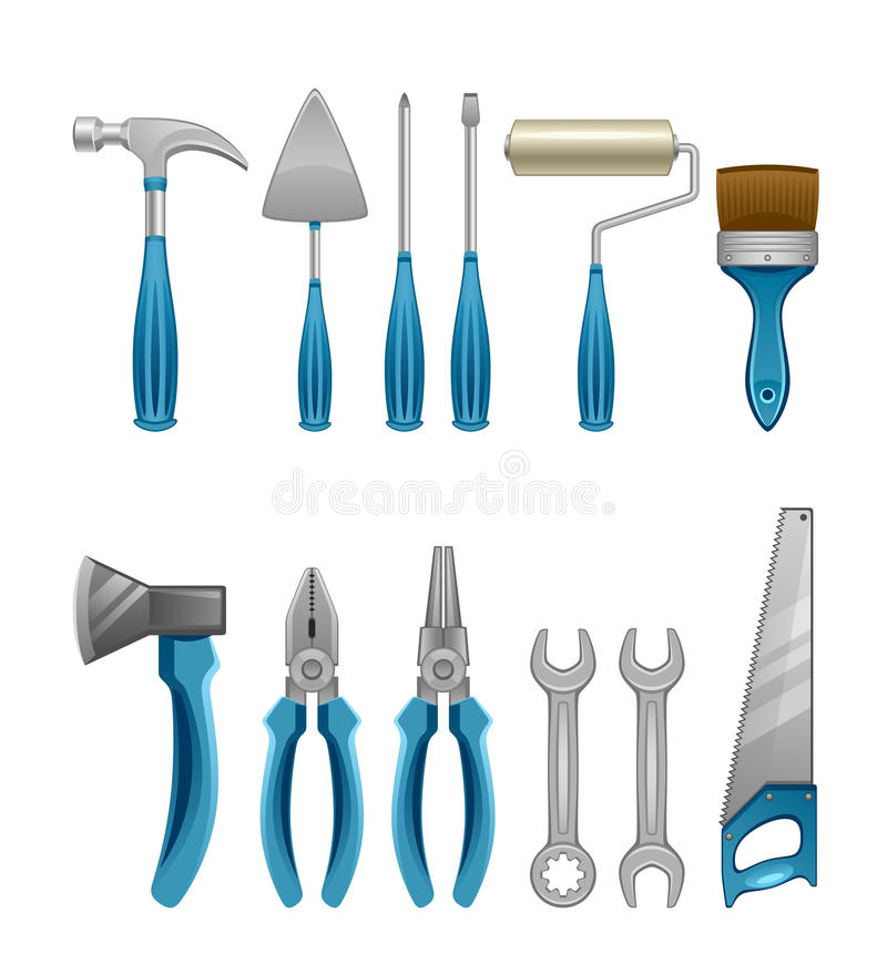 Download Set of tools stock vector. Image of object, blue, hammer - 29639715