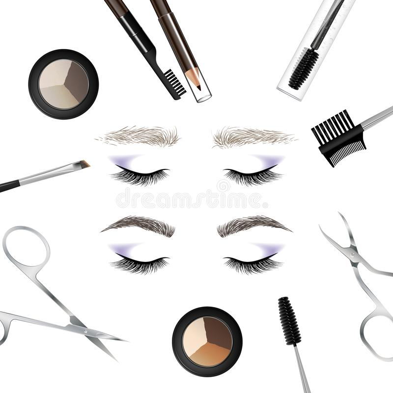 A set of tools and accessories for the care of the eyebrows. royalty free illustration