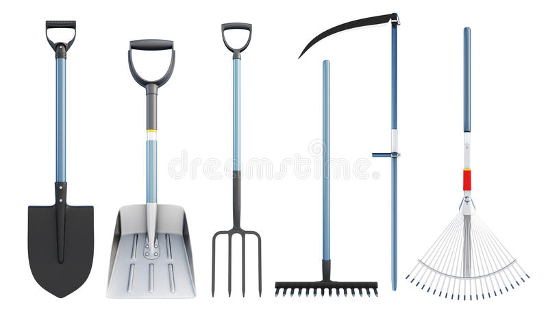 Set of tools for agriculture. 3d rendering. royalty free illustration