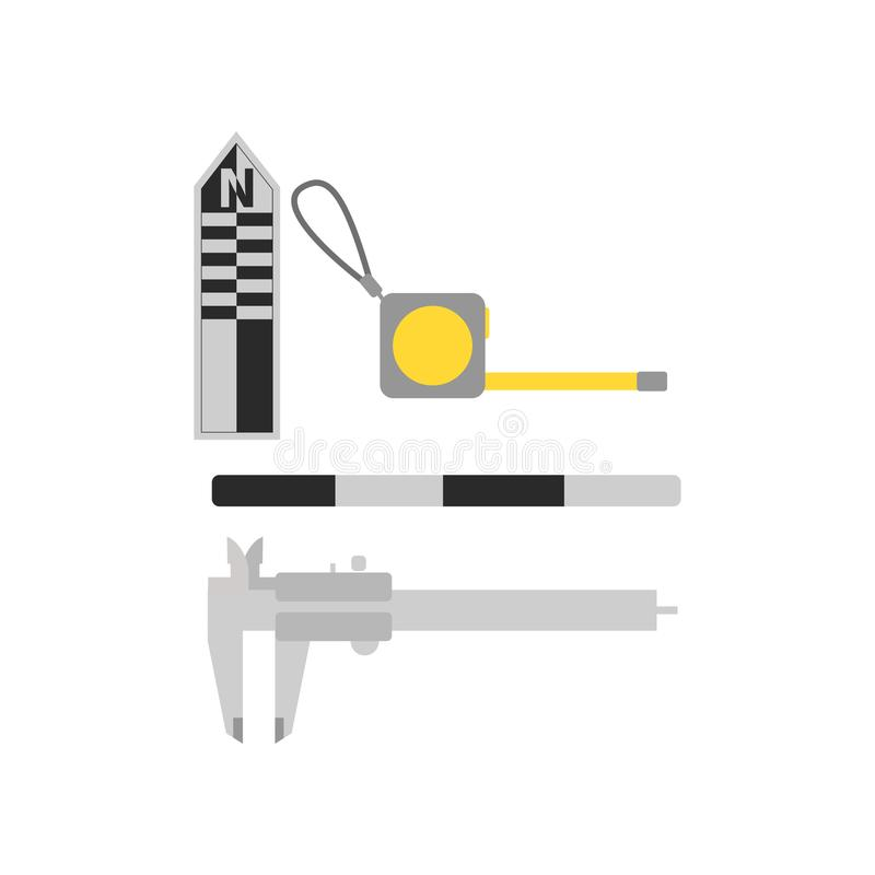 Flat vector set of tools for archaeological excavations. Measuring devices centimeter photographic scales, roulette and. Set of tools for archaeological royalty free illustration