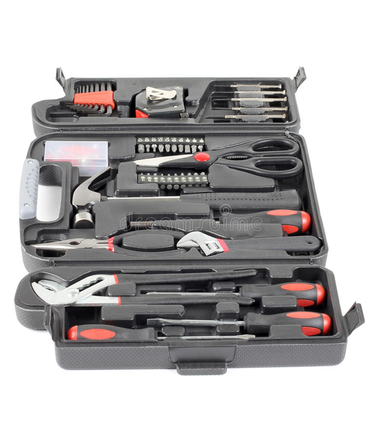 Set tools in box royalty free stock photography