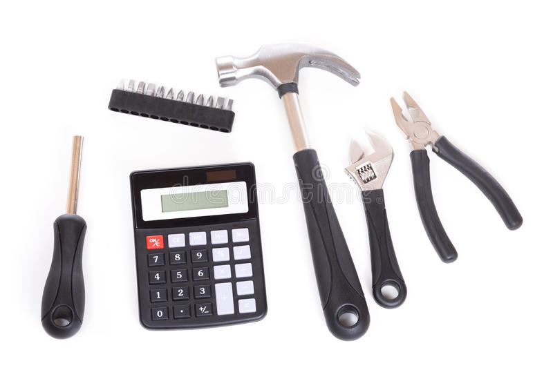 Set of tools and calculator stock photo