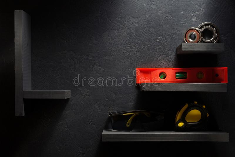 Set of tools and instruments. Set of  tools and instruments on black background royalty free stock photos