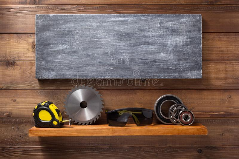Set of  tools and instruments on shelf stock photo